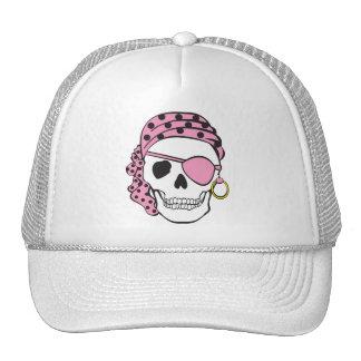 Gorra rosado del cráneo del pirata