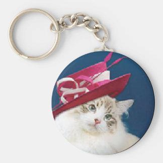gorra rosado del gato llavero redondo tipo pin