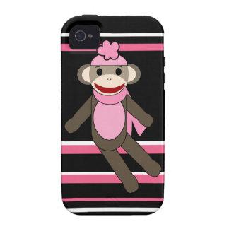 Gorra rosado lindo de la flor del chica del mono d iPhone 4 carcasa