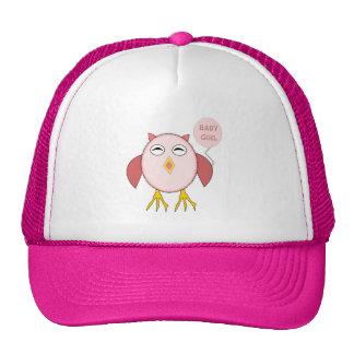 Gorra rosado lindo del búho de la niña