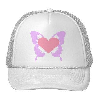 Gorra rosado y púrpura del corazón de la mariposa