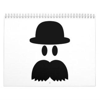 Gorra sonriente del bigote calendarios de pared