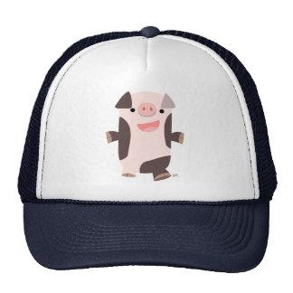 Gorra sonriente del cerdo del dibujo animado lindo