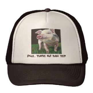 """Gorra sonriente del cerdo. """"Sonrisa… ¡Usted no es"""