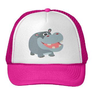 Gorra sonriente lindo del hipopótamo del dibujo an