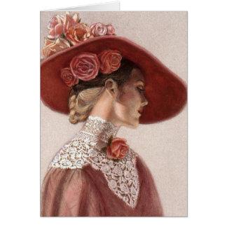 Gorra subió vintage elegante de la señora bella ar tarjeta de felicitación