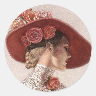 Gorra subió vintage elegante de la señora bella pegatina redonda