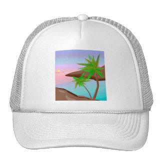 Gorra tropical de la puesta del sol de la isla