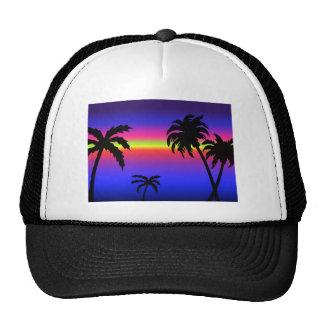 Gorra tropical de la puesta del sol de las palmera
