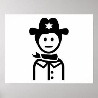 Gorra uniforme del sheriff impresiones
