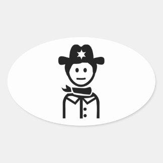 Gorra uniforme del sheriff pegatina ovalada