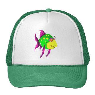 Gorra verde de los pescados de la diversión