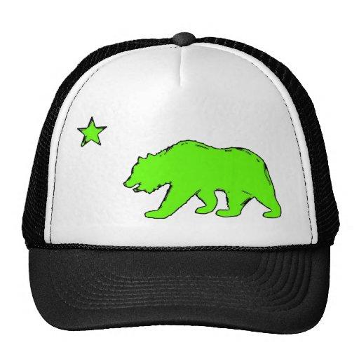 Gorra verde de neón del oso de la bandera de Calif