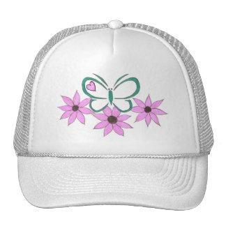 Gorra verde del logotipo de la mariposa