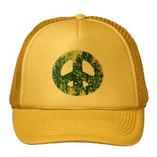 Gorra verde del signo de la paz de los árboles