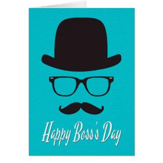 Gorra, vidrios, y bigote para el día de Boss Tarjeta De Felicitación