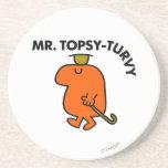 Gorra y bastón al revés de Sr. Topsy-Turvy el   Posavasos Manualidades