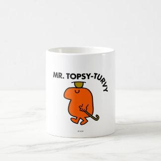 Gorra y bastón al revés de Sr. Topsy-Turvy el | Taza Básica Blanca
