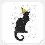 Gorra y confeti de Le Chat Party Pegatinas Cuadradases Personalizadas