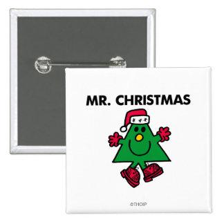 Gorra y guantes festivos de Sr. Christmas el   Pin Cuadrado