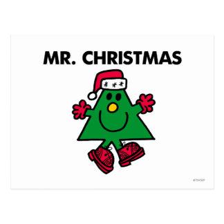 Gorra y guantes festivos de Sr. Christmas el | Tarjetas Postales