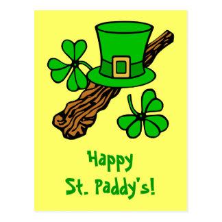 Gorra y la postal de St Patrick de los tréboles