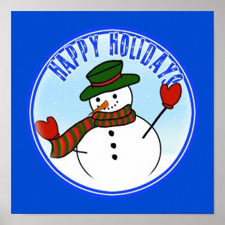 Gorra y manoplas lindos del muñeco de nieve w/Gree Posters