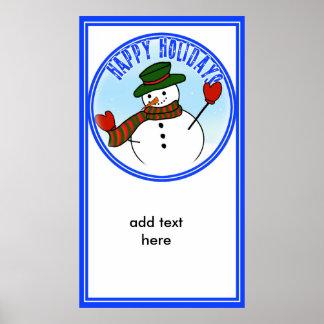 Gorra y manoplas lindos del muñeco de nieve w/Gree Impresiones
