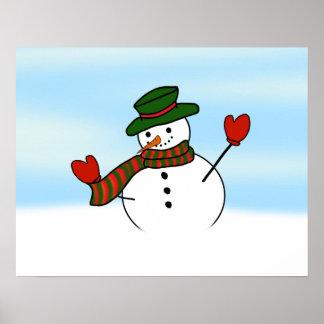 Gorra y manoplas lindos del muñeco de nieve w/Gree Poster