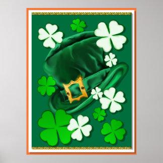 Gorra y poster irlandeses sentidos de los tréboles