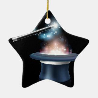 Gorra y vara del truco mágico adorno navideño de cerámica en forma de estrella