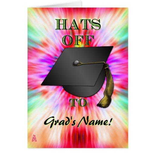 ¡Gorras apagado, chica! (Tarjeta de la graduación) Tarjeta De Felicitación