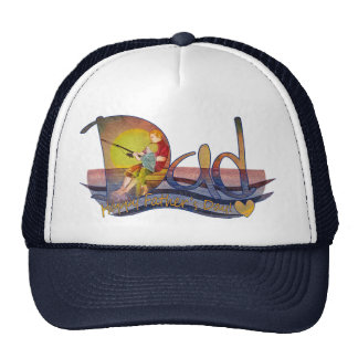 Gorras artísticos felices de la pesca del papá y