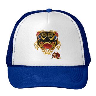 Gorras chinos de la cara y del símbolo del dragón