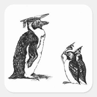 Gorras de graduación de la extremidad de los pingü calcomanías cuadradass personalizadas