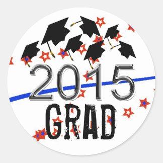 Gorras de la graduación del vuelo 2015 pegatinas pegatina redonda