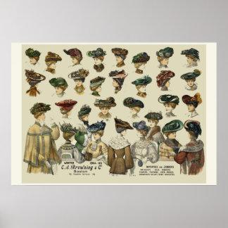 Gorras de las mujeres Boston 1905 Póster