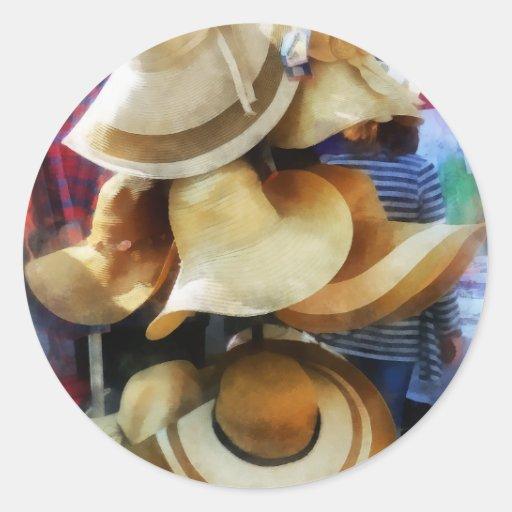 Gorras de paja pegatina redonda