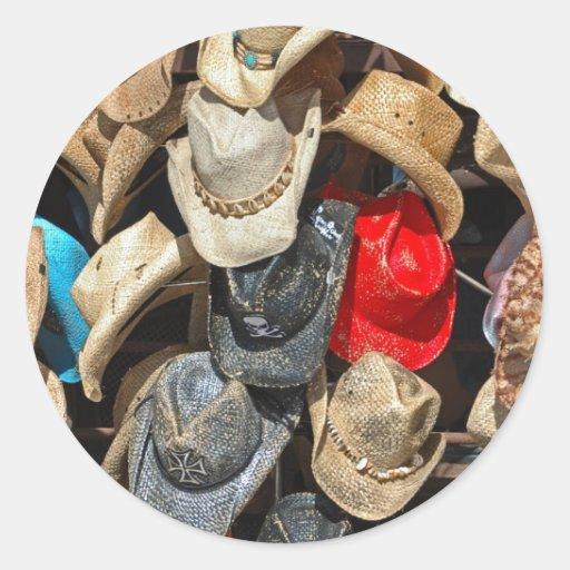 Gorras de vaquero pegatinas redondas