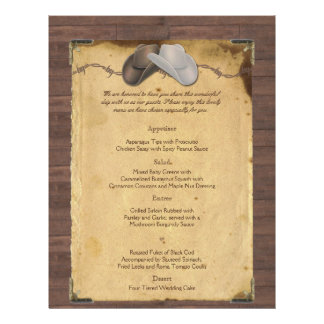 """Gorras de vaquero rústicos del país que casan el folleto 8.5"""" x 11"""""""