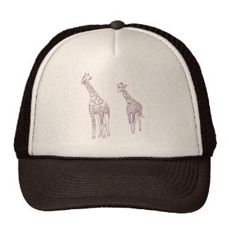 Gorras del dibujo de esquema de las jirafas de la