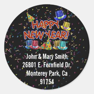 Gorras del fiesta de la Feliz Año Nuevo Pegatina Redonda