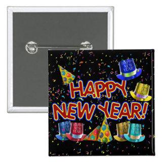Gorras del fiesta de la Feliz Año Nuevo Pin Cuadrado
