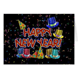 Gorras del fiesta de la Feliz Año Nuevo Tarjeta De Felicitación