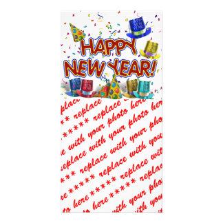 Gorras del fiesta de la Feliz Año Nuevo Tarjetas Fotograficas Personalizadas