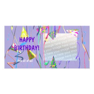 Gorras del fiesta del feliz cumpleaños tarjetas fotográficas