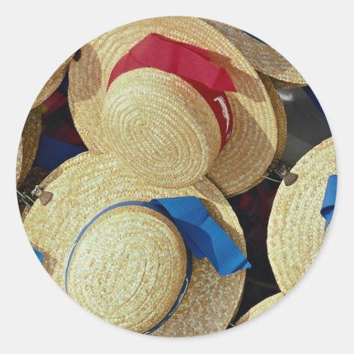 Gorras del gondolero, Venecia, Italia Pegatina Redonda