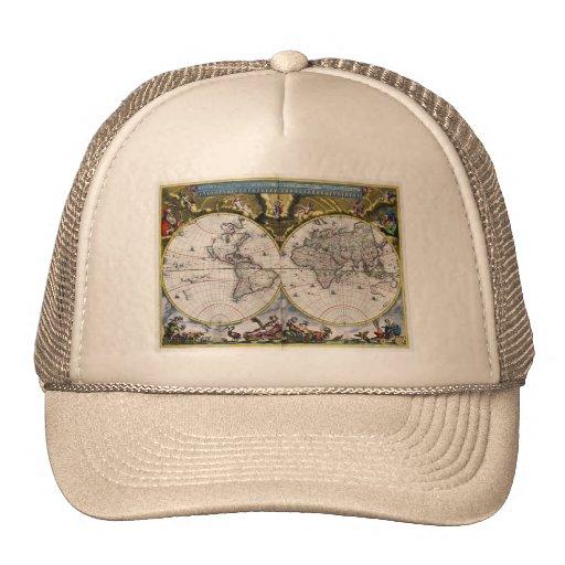 Gorras del mapa del mundo del vintage 1664) (