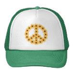 Gorras del signo de la paz del girasol por