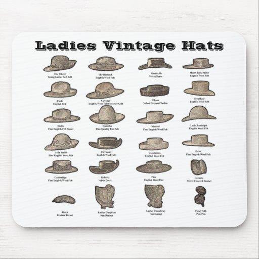 Gorras del vintage de las señoras alfombrillas de raton